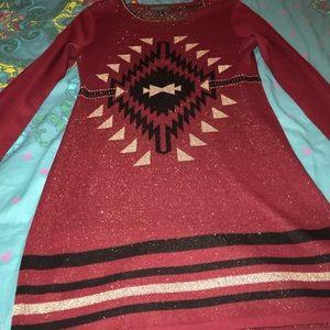 RED GLITTER SWEATER DRESS SZ L